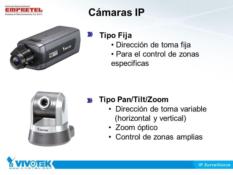 Cámaras IP Tipo Fija Dirección de toma fija Para el control de zonas especificas Tipo Pan/Tilt/Zoom Dirección de toma variable (horizontal y vertical)