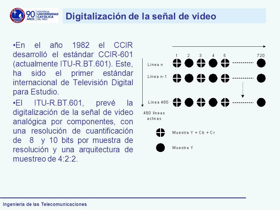Ingeniería de las Telecomunicaciones En el año 1982 el CCIR desarrolló el estándar CCIR-601 (actualmente ITU-R.BT.601). Este, ha sido el primer estánd
