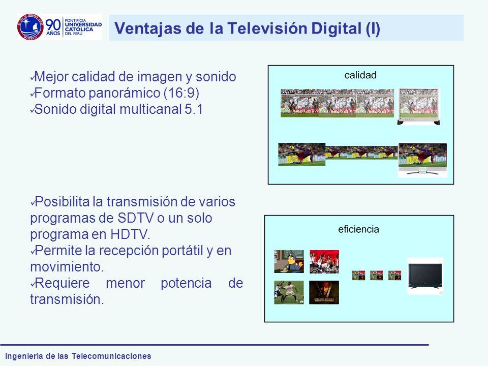 Ingeniería de las Telecomunicaciones Ventajas de la Televisión Digital (I) Mejor calidad de imagen y sonido Formato panorámico (16:9) Sonido digital m