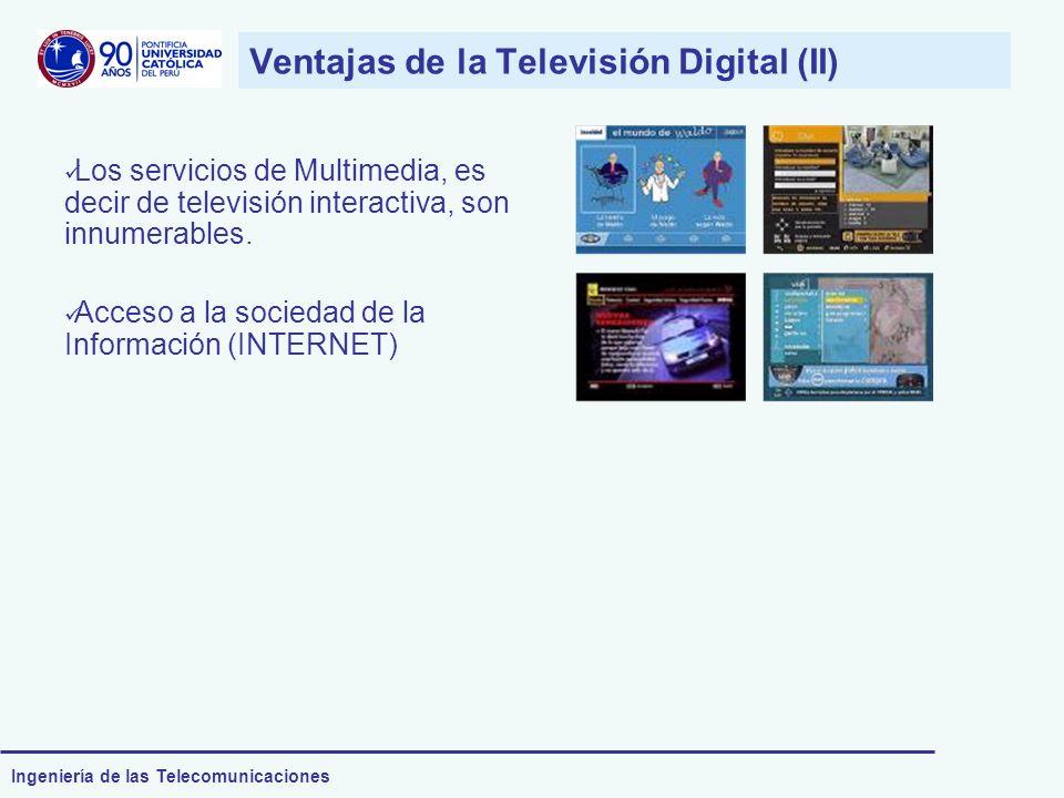 Ingeniería de las Telecomunicaciones Ventajas de la Televisión Digital (II) Los servicios de Multimedia, es decir de televisión interactiva, son innum