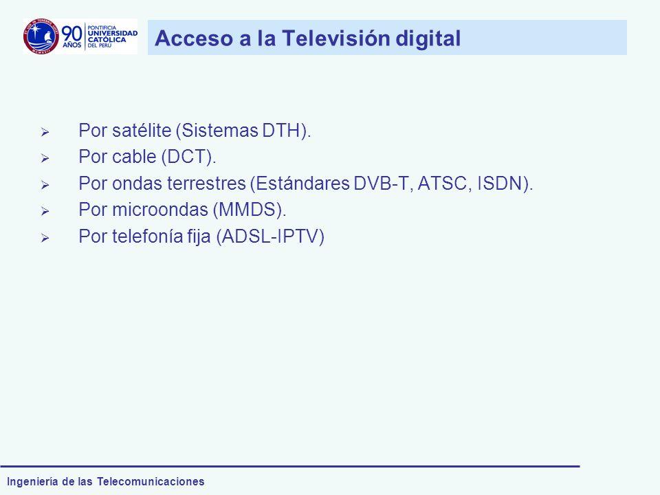 Ingeniería de las Telecomunicaciones Por satélite (Sistemas DTH). Por cable (DCT). Por ondas terrestres (Estándares DVB-T, ATSC, ISDN). Por microondas