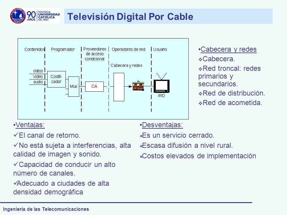 Ingeniería de las Telecomunicaciones Televisión Digital Por Cable Cabecera y redes Cabecera. Red troncal: redes primarios y secundarios. Red de distri