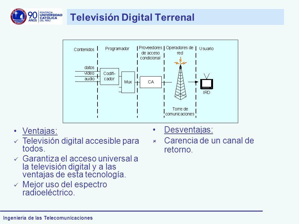 Ingeniería de las Telecomunicaciones Televisión Digital Terrenal Ventajas: Televisión digital accesible para todos. Garantiza el acceso universal a la