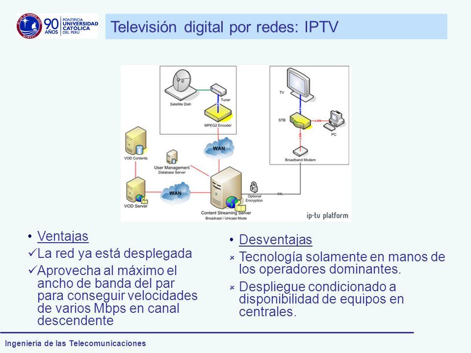 Ingeniería de las Telecomunicaciones Televisión digital por redes: IPTV Ventajas La red ya está desplegada Aprovecha al máximo el ancho de banda del p