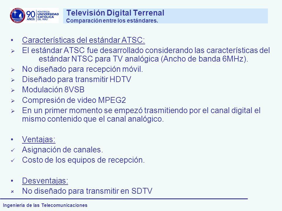 Ingeniería de las Telecomunicaciones Televisión Digital Terrenal Comparación entre los estándares. Características del estándar ATSC: El estándar ATSC