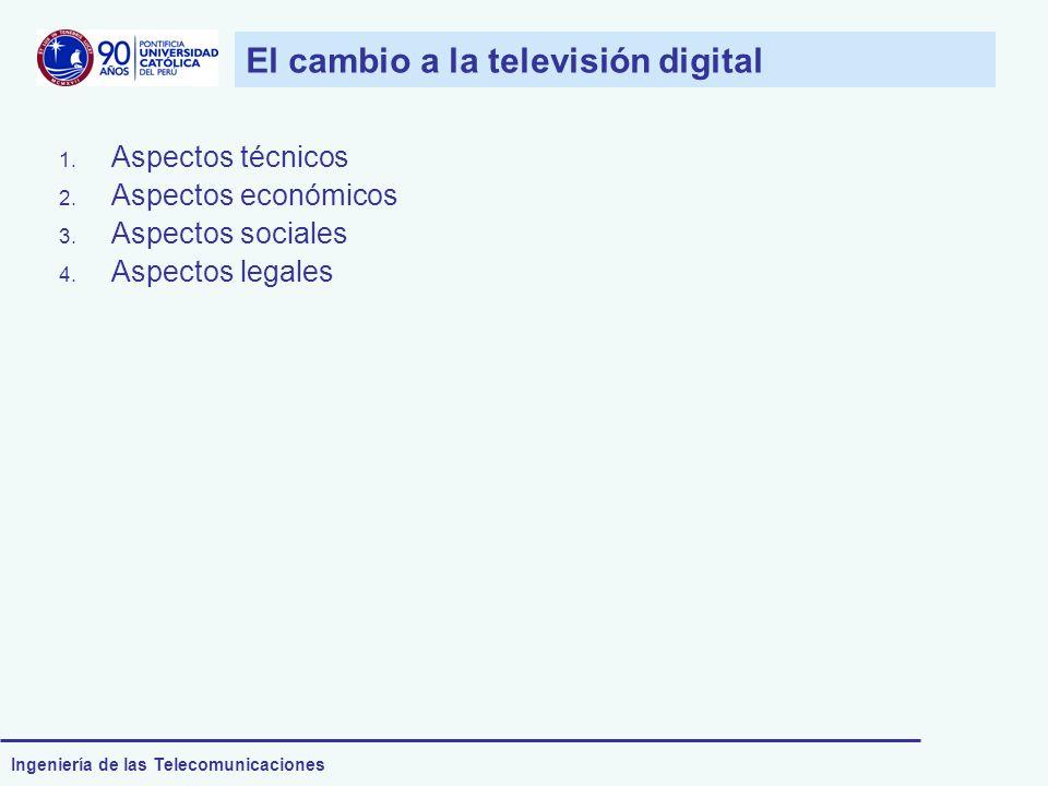 Ingeniería de las Telecomunicaciones El cambio a la televisión digital 1. Aspectos técnicos 2. Aspectos económicos 3. Aspectos sociales 4. Aspectos le