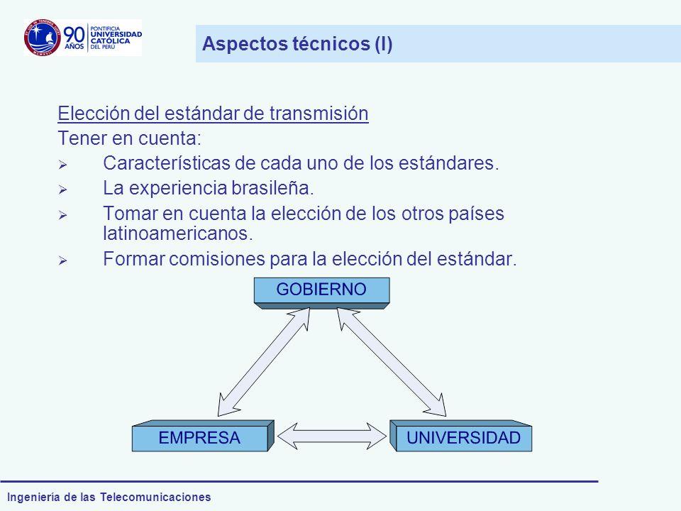 Ingeniería de las Telecomunicaciones Aspectos técnicos (I) Elección del estándar de transmisión Tener en cuenta: Características de cada uno de los es