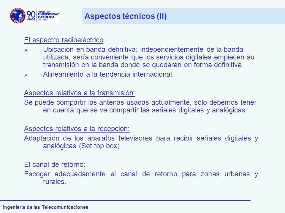 Ingeniería de las Telecomunicaciones Aspectos técnicos (II) El espectro radioeléctrico Ubicación en banda definitiva: independientemente de la banda u