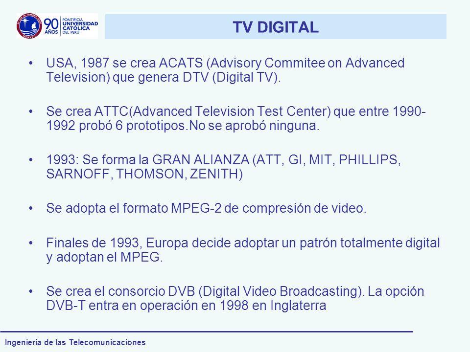 Ingeniería de las Telecomunicaciones Aspectos económicos (I) Inversión de los broadcasters y los canales de televisión: Según estudios de TVChile, la inversión de un canal de televisión es de 40 millones de dólares.