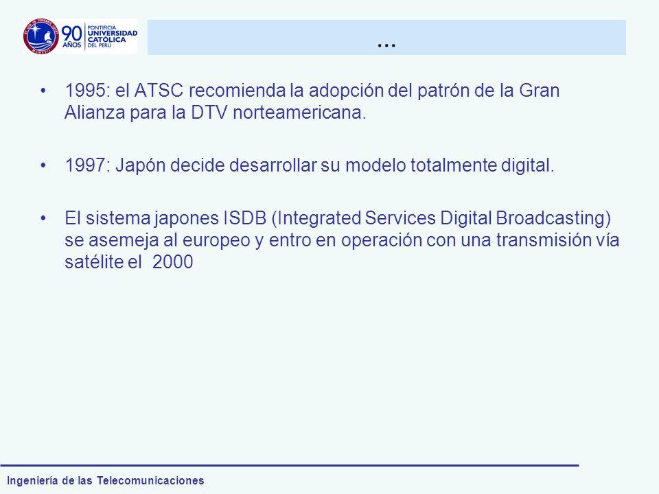 Ingeniería de las Telecomunicaciones... 1995: el ATSC recomienda la adopción del patrón de la Gran Alianza para la DTV norteamericana. 1997: Japón dec