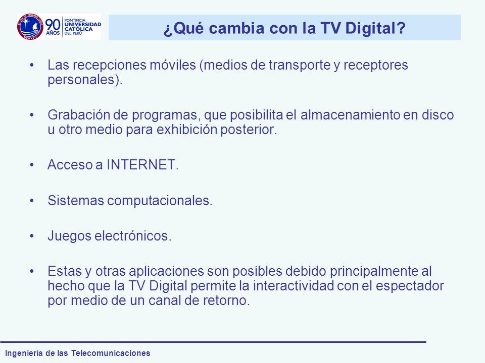 Ingeniería de las Telecomunicaciones ¿Qué cambia con la TV Digital? Las recepciones móviles (medios de transporte y receptores personales). Grabación