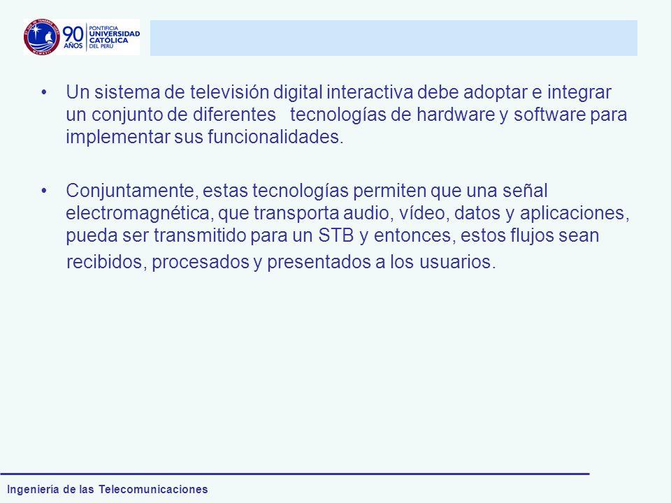 Ingeniería de las Telecomunicaciones Un sistema de televisión digital interactiva debe adoptar e integrar un conjunto de diferentes tecnologías de har