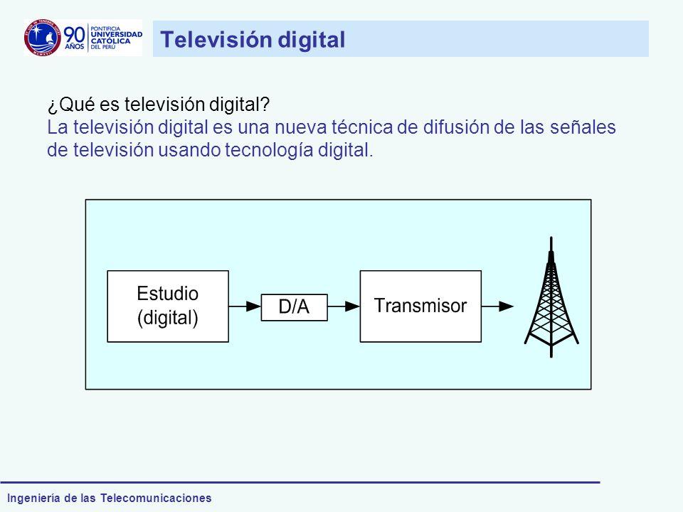 Ingeniería de las Telecomunicaciones Televisión digital ¿Qué es televisión digital? La televisión digital es una nueva técnica de difusión de las seña