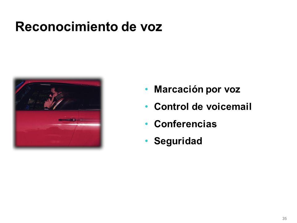 35 Reconocimiento de voz Marcación por voz Control de voicemail Conferencias Seguridad