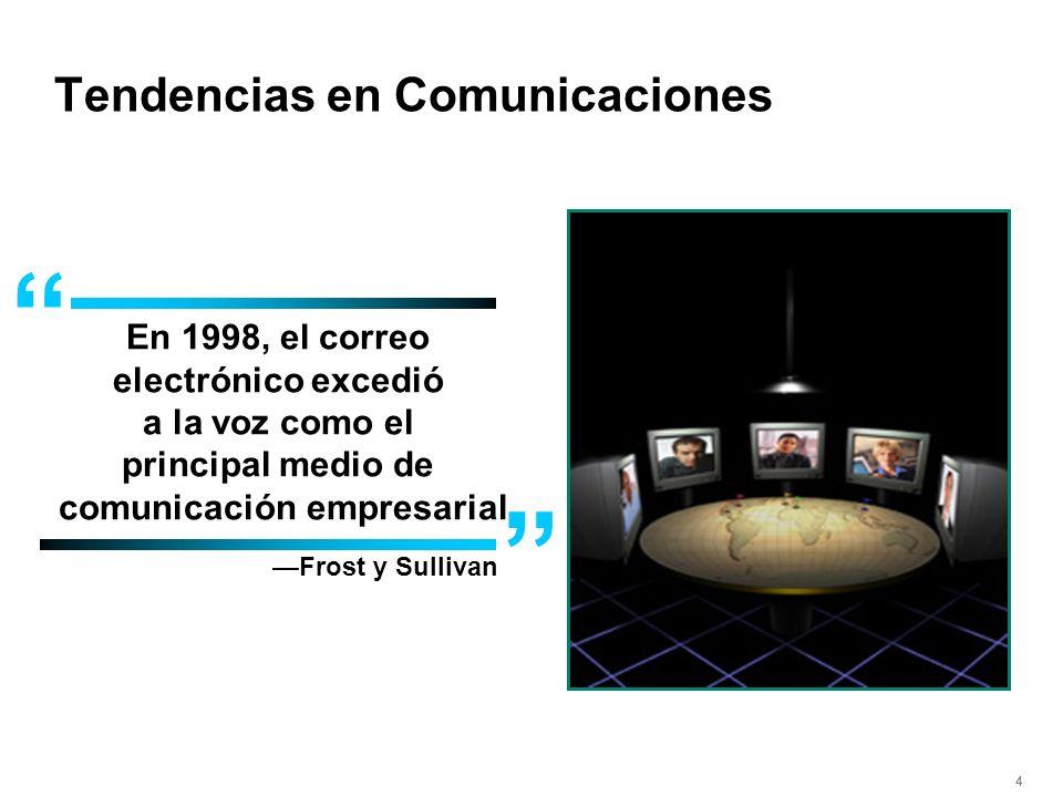 444 En 1998, el correo electrónico excedió a la voz como el principal medio de comunicación empresarial Frost y Sullivan Tendencias en Comunicaciones