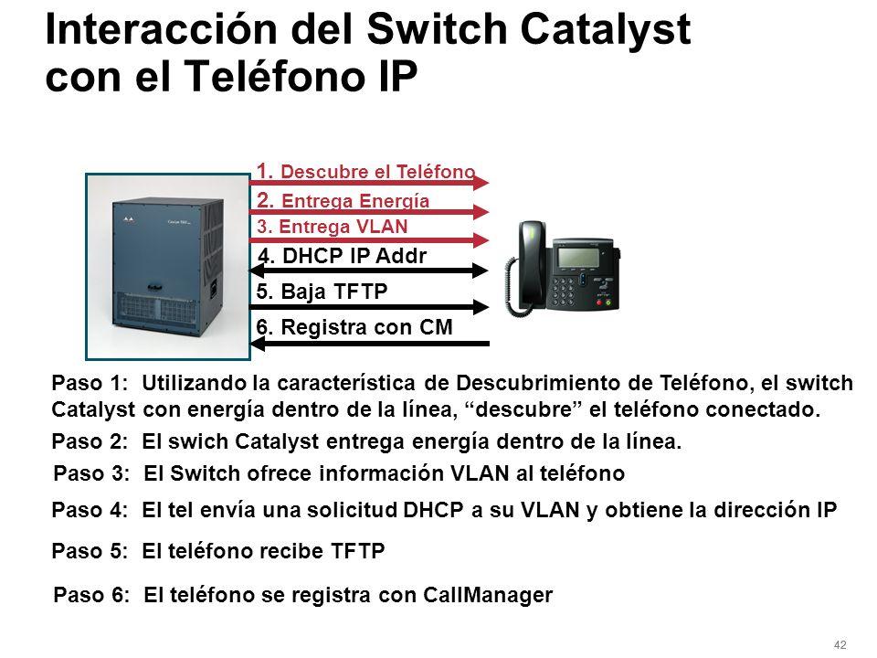 42 Interacción del Switch Catalyst con el Teléfono IP Paso 1: Utilizando la característica de Descubrimiento de Teléfono, el switch Catalyst con energ