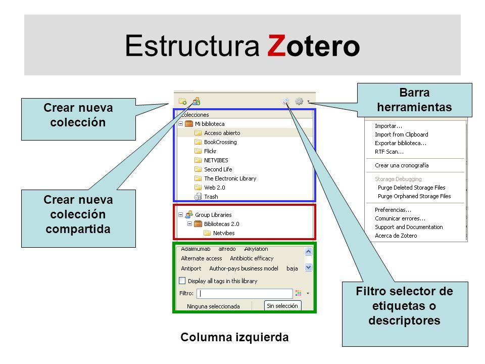 Estructura Zotero Crear nueva colección Columna izquierda Barra herramientas Crear nueva colección compartida Filtro selector de etiquetas o descripto