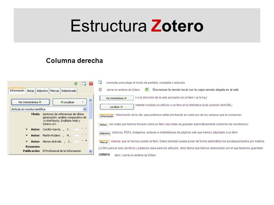 Estructura Zotero Columna derecha