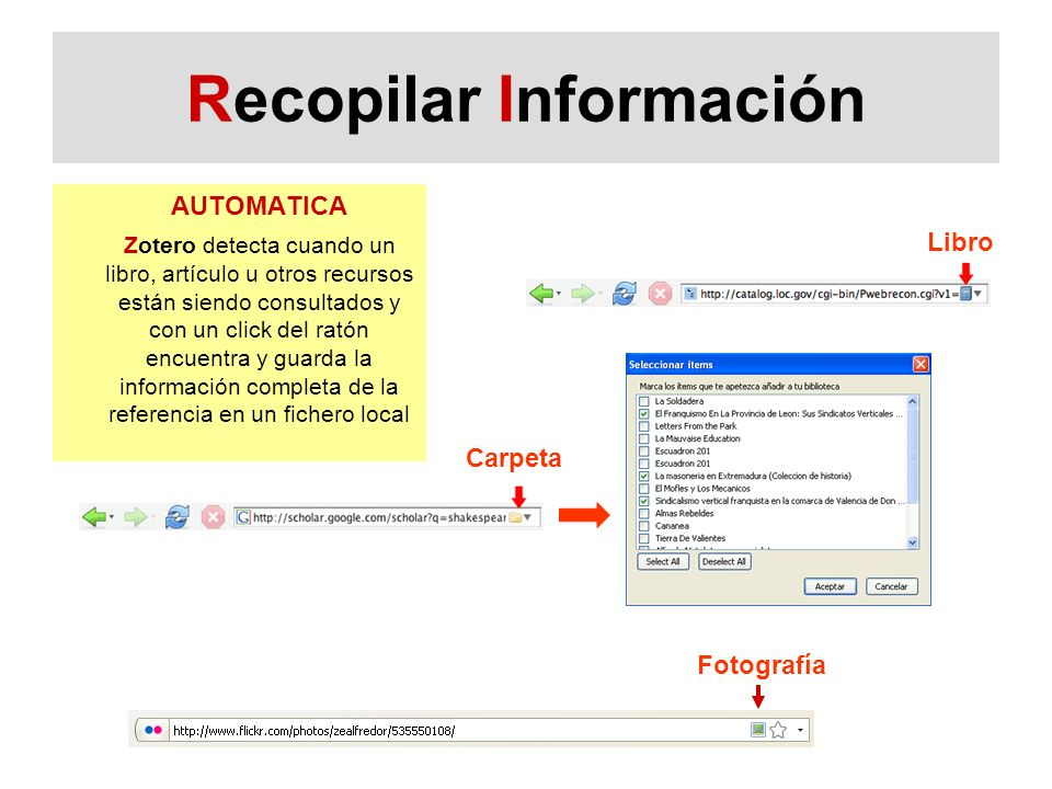 Recopilar Información AUTOMATICA Zotero detecta cuando un libro, artículo u otros recursos están siendo consultados y con un click del ratón encuentra