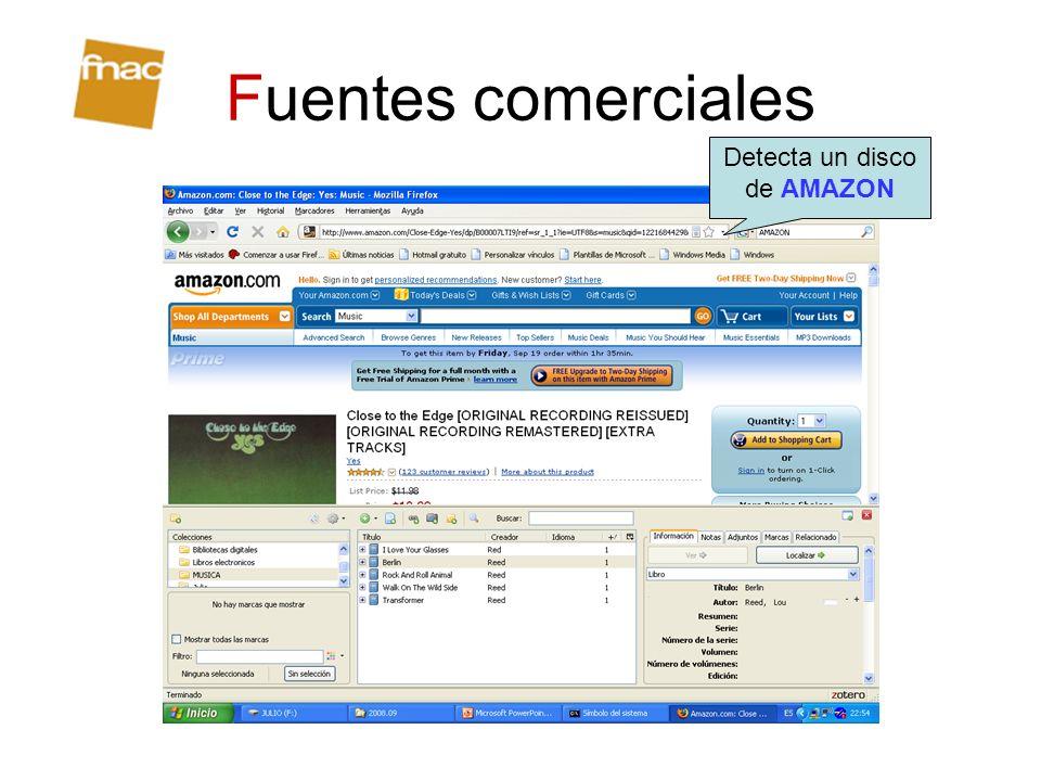 Fuentes comerciales Detecta un disco de AMAZON