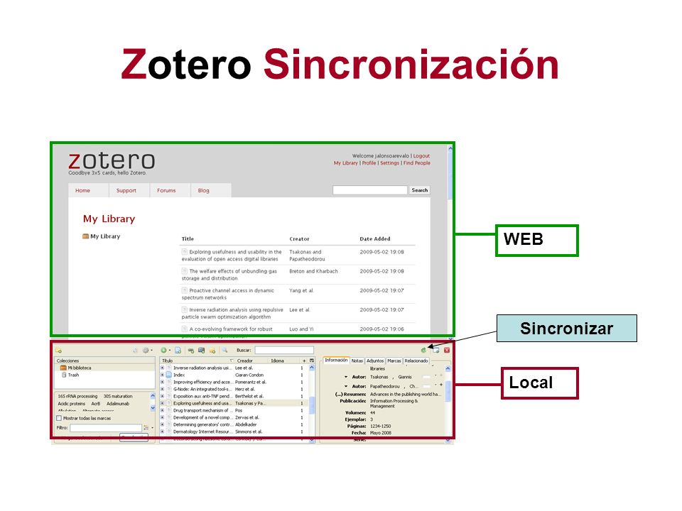 Zotero Sincronización WEB Local Sincronizar