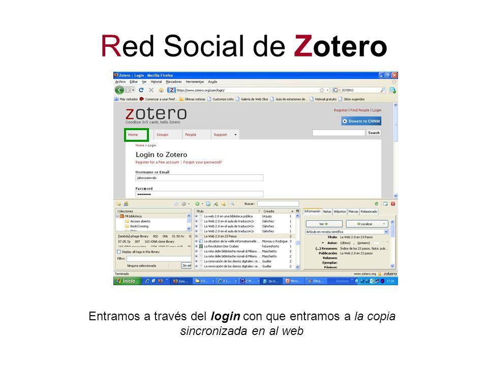 Red Social de Zotero Entramos a través del login con que entramos a la copia sincronizada en al web