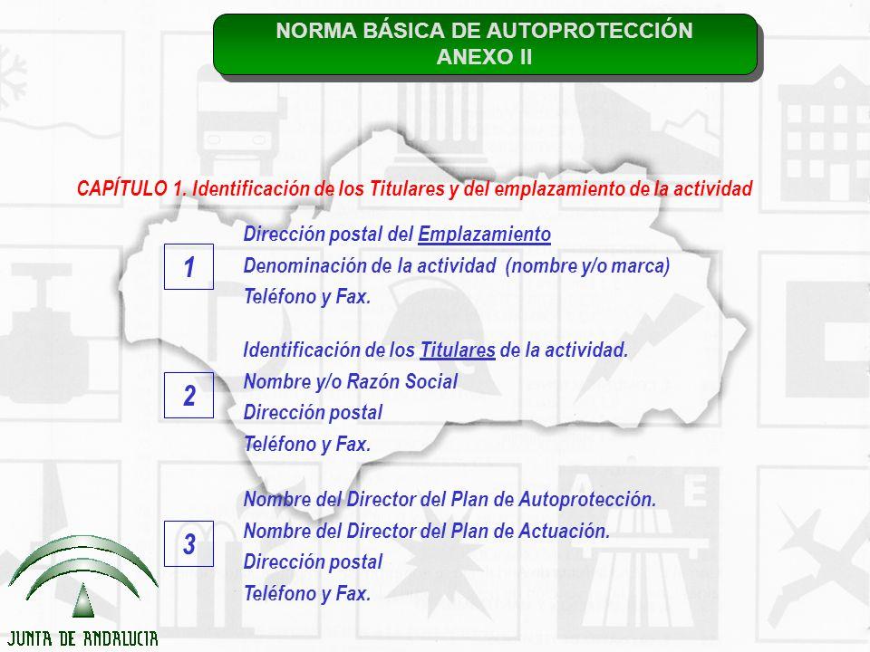 NORMA BÁSICA DE AUTOPROTECCIÓN ANEXO II NORMA BÁSICA DE AUTOPROTECCIÓN ANEXO II CAPÍTULO 1. Identificación de los Titulares y del emplazamiento de la