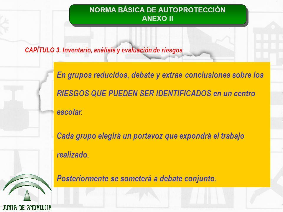 NORMA BÁSICA DE AUTOPROTECCIÓN ANEXO II NORMA BÁSICA DE AUTOPROTECCIÓN ANEXO II CAPÍTULO 3. Inventario, análisis y evaluación de riesgos En grupos red