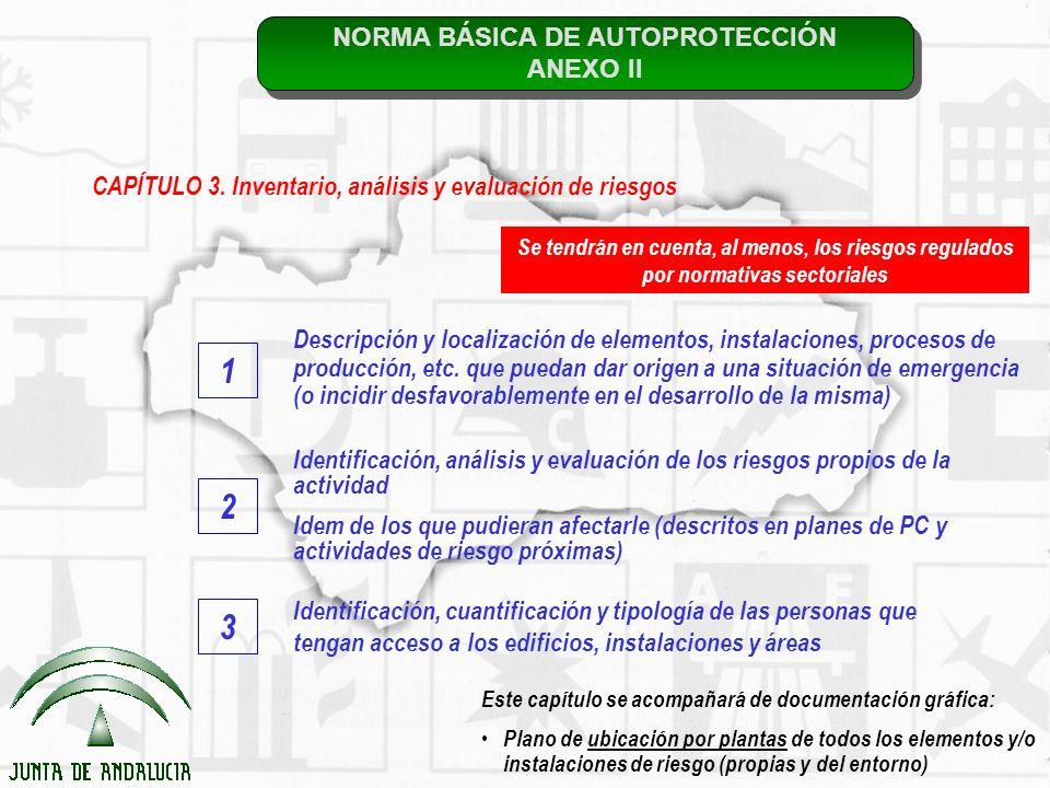 NORMA BÁSICA DE AUTOPROTECCIÓN ANEXO II NORMA BÁSICA DE AUTOPROTECCIÓN ANEXO II CAPÍTULO 3. Inventario, análisis y evaluación de riesgos Descripción y