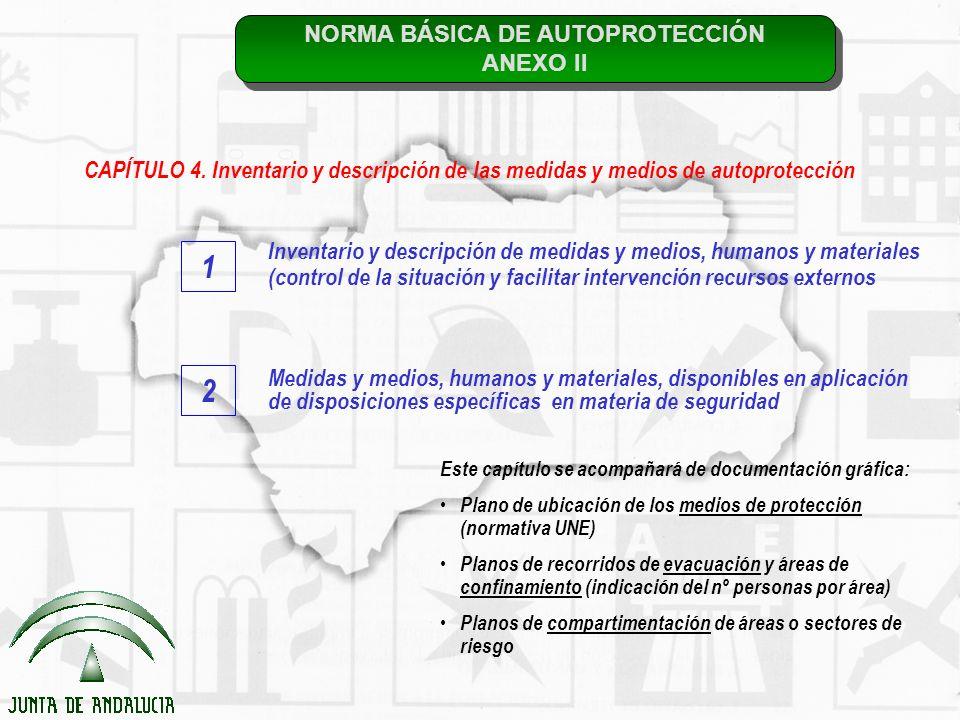 NORMA BÁSICA DE AUTOPROTECCIÓN ANEXO II NORMA BÁSICA DE AUTOPROTECCIÓN ANEXO II CAPÍTULO 4. Inventario y descripción de las medidas y medios de autopr