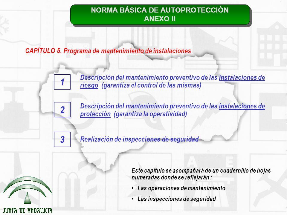 NORMA BÁSICA DE AUTOPROTECCIÓN ANEXO II NORMA BÁSICA DE AUTOPROTECCIÓN ANEXO II CAPÍTULO 5. Programa de mantenimiento de instalaciones Descripción del