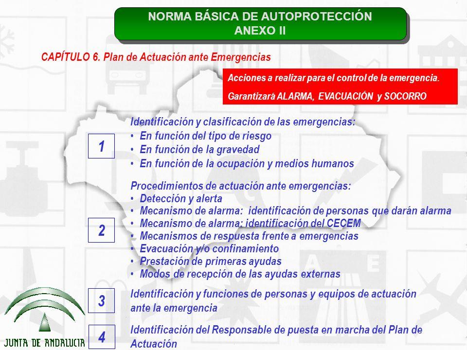 NORMA BÁSICA DE AUTOPROTECCIÓN ANEXO II NORMA BÁSICA DE AUTOPROTECCIÓN ANEXO II CAPÍTULO 6. Plan de Actuación ante Emergencias Identificación y clasif