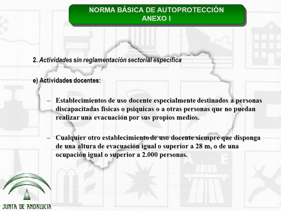 NORMA BÁSICA DE AUTOPROTECCIÓN ANEXO I NORMA BÁSICA DE AUTOPROTECCIÓN ANEXO I 2. Actividades sin reglamentación sectorial específica e) Actividades do