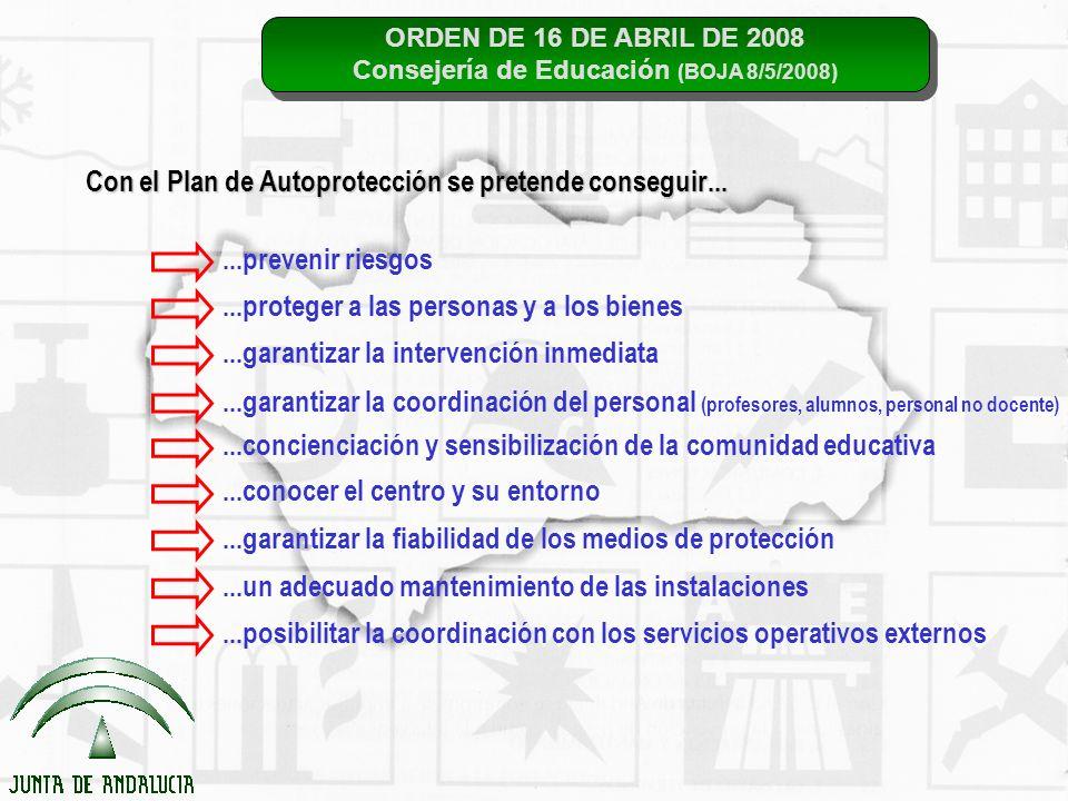 ORDEN DE 16 DE ABRIL DE 2008 Consejería de Educación (BOJA 8/5/2008) ORDEN DE 16 DE ABRIL DE 2008 Consejería de Educación (BOJA 8/5/2008) Con el Plan