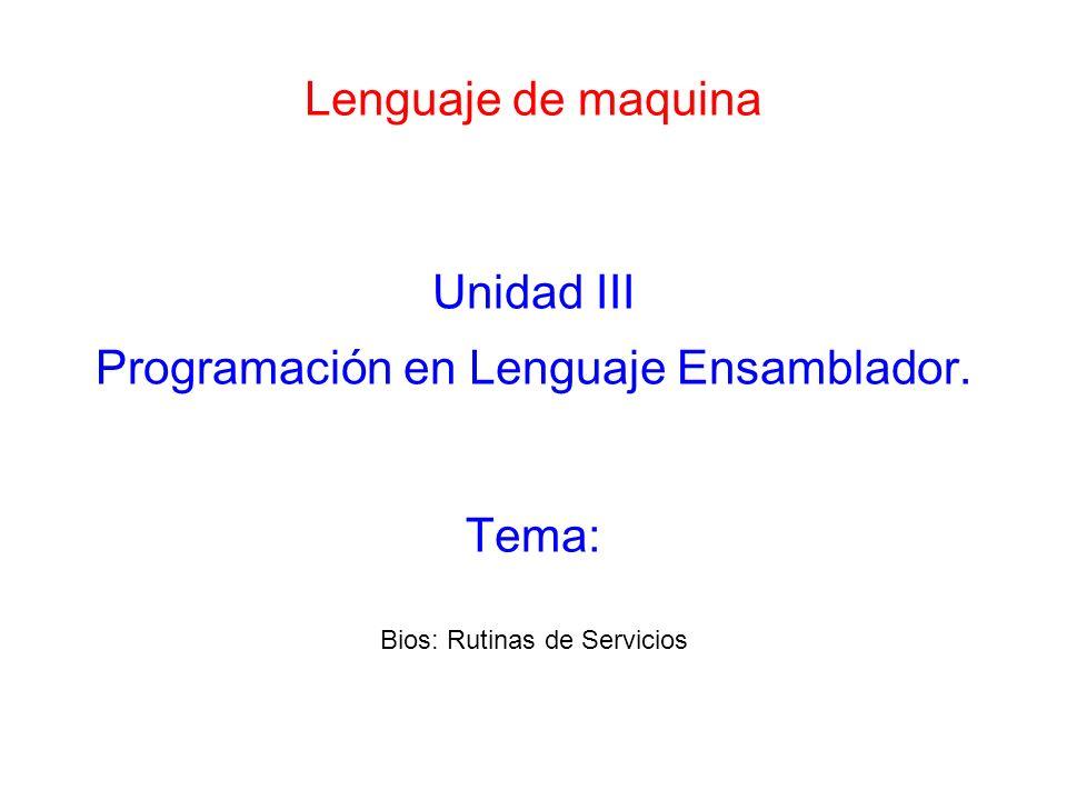 Lenguaje de maquina Unidad III Programación en Lenguaje Ensamblador.