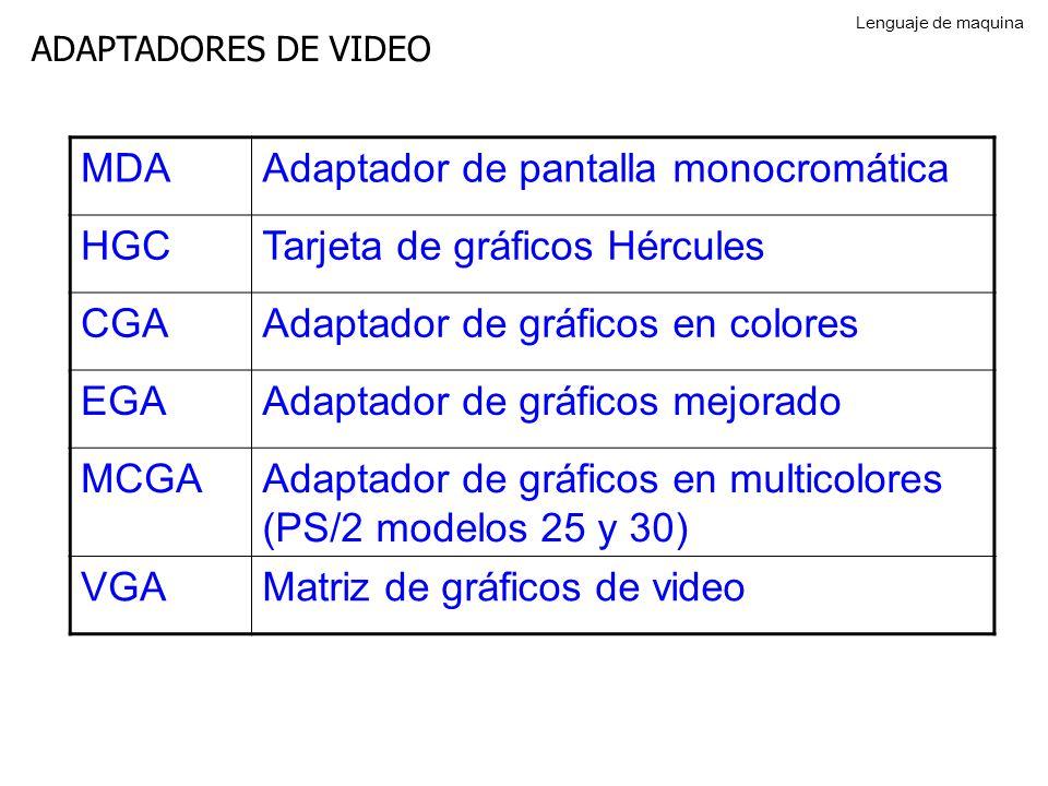 ADAPTADORES DE VIDEO MDAAdaptador de pantalla monocromática HGCTarjeta de gráficos Hércules CGAAdaptador de gráficos en colores EGAAdaptador de gráficos mejorado MCGAAdaptador de gráficos en multicolores (PS/2 modelos 25 y 30) VGAMatriz de gráficos de video Lenguaje de maquina