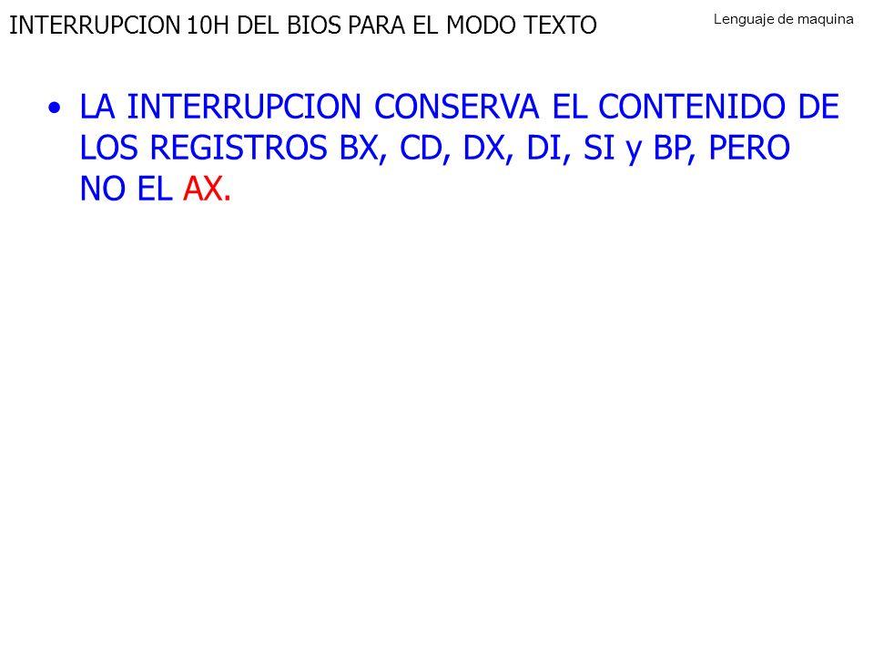 INTERRUPCION 10H DEL BIOS PARA EL MODO TEXTO LA INTERRUPCION CONSERVA EL CONTENIDO DE LOS REGISTROS BX, CD, DX, DI, SI y BP, PERO NO EL AX.