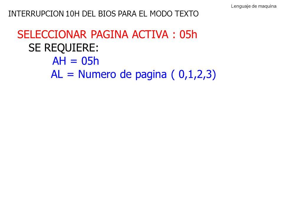 SELECCIONAR PAGINA ACTIVA : 05h SE REQUIERE: AH = 05h AL = Numero de pagina ( 0,1,2,3) INTERRUPCION 10H DEL BIOS PARA EL MODO TEXTO Lenguaje de maquina