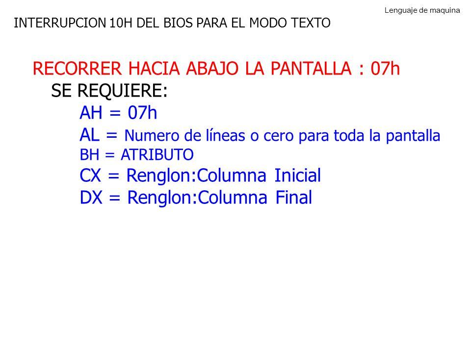 INTERRUPCION 10H DEL BIOS PARA EL MODO TEXTO RECORRER HACIA ABAJO LA PANTALLA : 07h SE REQUIERE: AH = 07h AL = Numero de líneas o cero para toda la pantalla BH = ATRIBUTO CX = Renglon:Columna Inicial DX = Renglon:Columna Final Lenguaje de maquina
