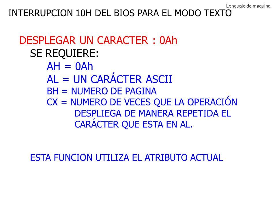 INTERRUPCION 10H DEL BIOS PARA EL MODO TEXTO DESPLEGAR UN CARACTER : 0Ah SE REQUIERE: AH = 0Ah AL = UN CARÁCTER ASCII BH = NUMERO DE PAGINA CX = NUMERO DE VECES QUE LA OPERACIÓN DESPLIEGA DE MANERA REPETIDA EL CARÁCTER QUE ESTA EN AL.