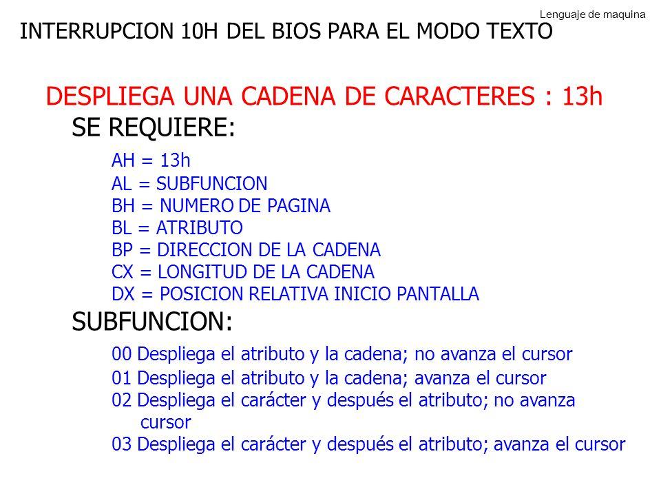 INTERRUPCION 10H DEL BIOS PARA EL MODO TEXTO DESPLIEGA UNA CADENA DE CARACTERES : 13h SE REQUIERE: AH = 13h AL = SUBFUNCION BH = NUMERO DE PAGINA BL = ATRIBUTO BP = DIRECCION DE LA CADENA CX = LONGITUD DE LA CADENA DX = POSICION RELATIVA INICIO PANTALLA SUBFUNCION: 00 Despliega el atributo y la cadena; no avanza el cursor 01 Despliega el atributo y la cadena; avanza el cursor 02 Despliega el carácter y después el atributo; no avanza cursor 03 Despliega el carácter y después el atributo; avanza el cursor Lenguaje de maquina