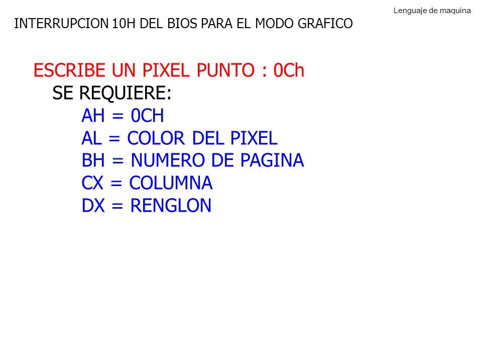 INTERRUPCION 10H DEL BIOS PARA EL MODO GRAFICO ESCRIBE UN PIXEL PUNTO : 0Ch SE REQUIERE: AH = 0CH AL = COLOR DEL PIXEL BH = NUMERO DE PAGINA CX = COLUMNA DX = RENGLON Lenguaje de maquina
