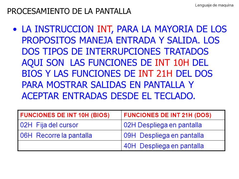 PROCESAMIENTO DE LA PANTALLA LA INSTRUCCION INT, PARA LA MAYORIA DE LOS PROPOSITOS MANEJA ENTRADA Y SALIDA.