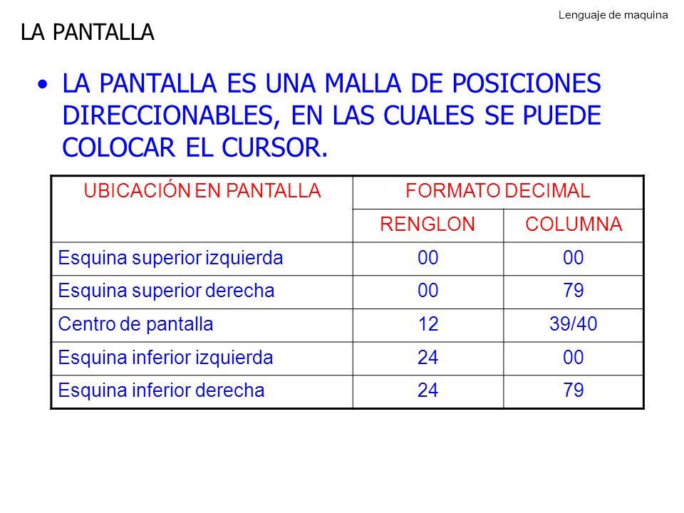 LA PANTALLA LA PANTALLA ES UNA MALLA DE POSICIONES DIRECCIONABLES, EN LAS CUALES SE PUEDE COLOCAR EL CURSOR.