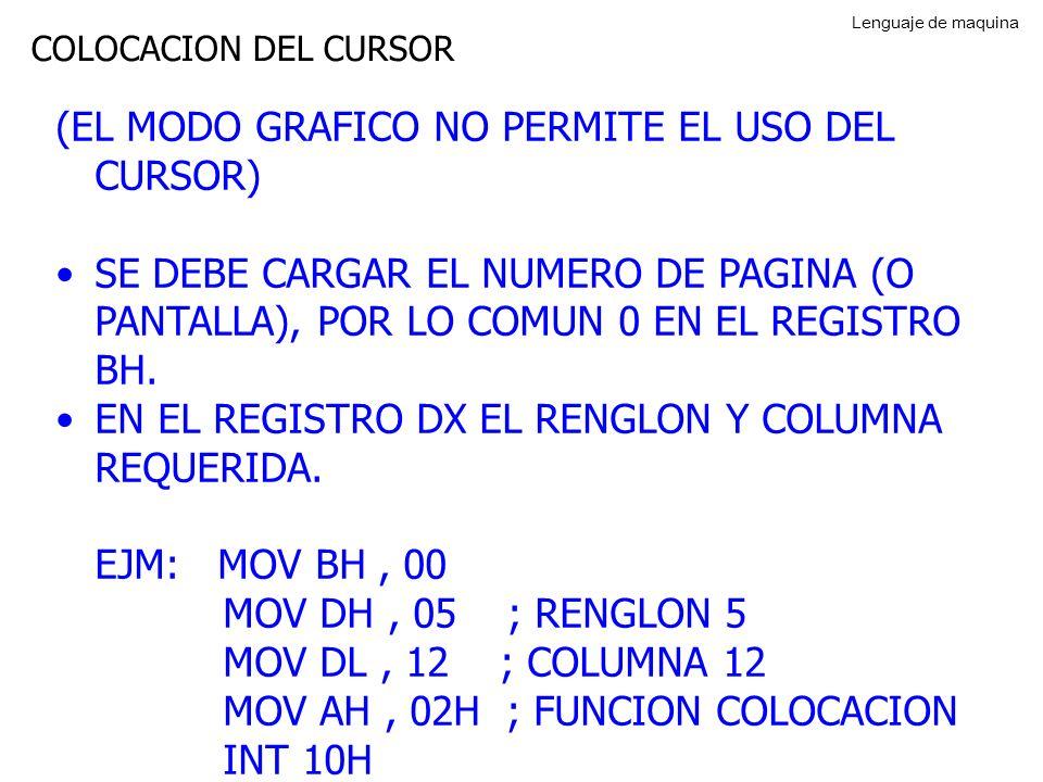 LIMPIAR LA PANTALLA PARA LIMPIAR TODA LA PANTALLA ESPECIFIQUE EN EL RENGLON:COLUMNA (00:00H) Y EN EL RENGLON COLUMNA FINAL (18:4FH) CARGAR LOS REGISTROS: AH = FUNCION 06H AL = 00H PARA LA PANTALLA COMPLETA BH = NUMERO DEL ATRIBUTO CX = RENGLON:COLUMNA INICIAL DX = RENGLON:COLUMNA FINAL EL ATRIBUTO 71H ESTABLECE LA PANTALLA EN FONDO BLANCO (7) CON PRIMER PLANO AZUL (1) Lenguaje de maquina