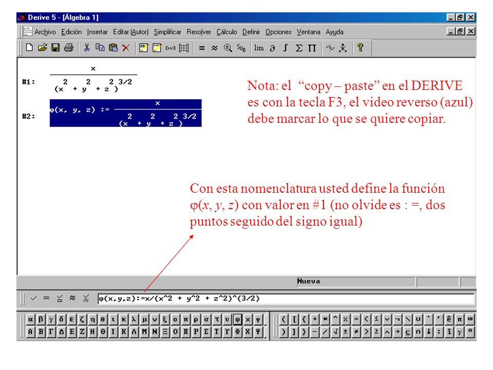 Con esta nomenclatura usted define la función (x, y, z) con valor en #1 (no olvide es : =, dos puntos seguido del signo igual) Nota: el copy – paste e
