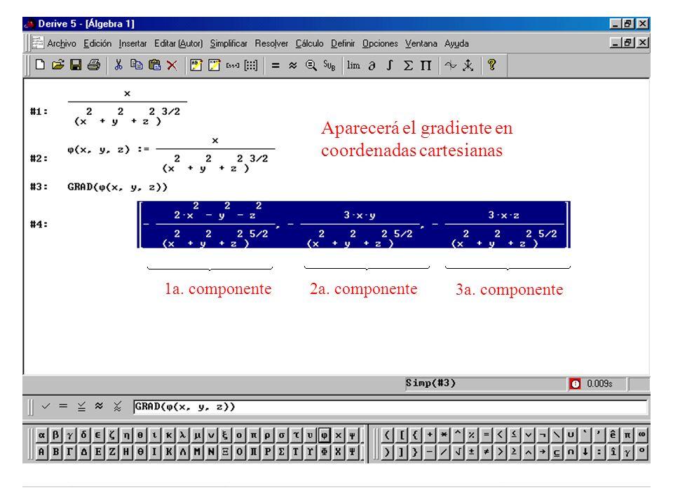 Aparecerá el gradiente en coordenadas cartesianas 1a. componente2a. componente 3a. componente