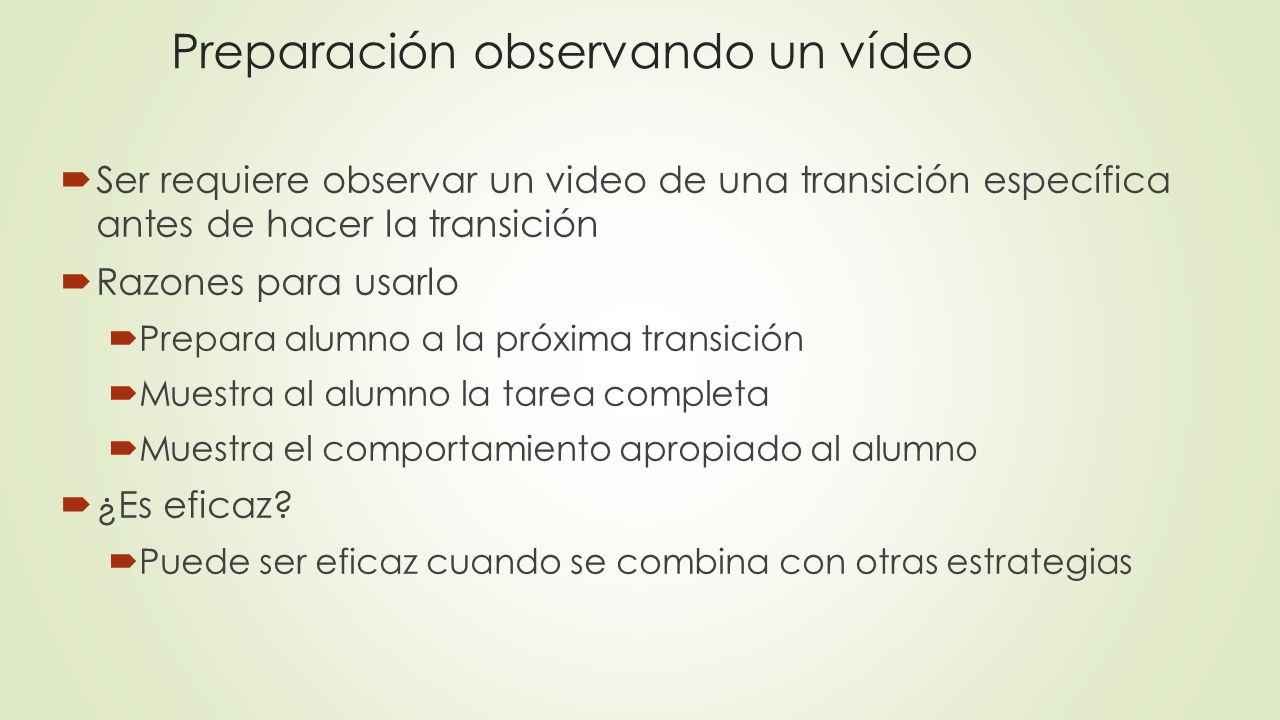 Preparación observando un vídeo Ser requiere observar un video de una transición específica antes de hacer la transición Razones para usarlo Prepara a