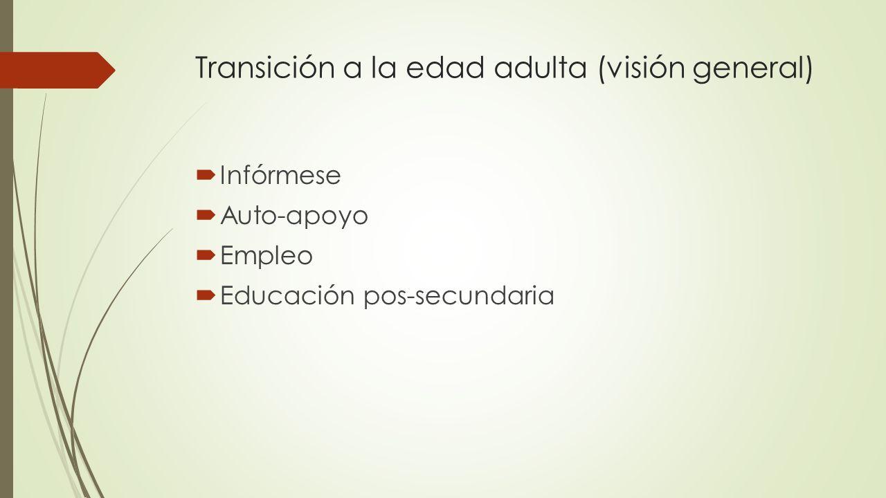 Transición a la edad adulta (visión general) Infórmese Auto-apoyo Empleo Educación pos-secundaria