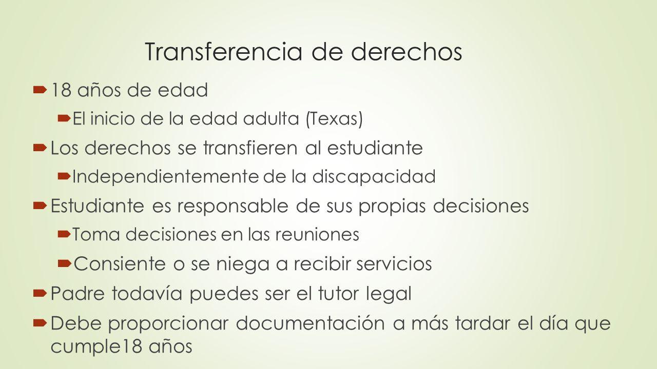 Transferencia de derechos 18 años de edad El inicio de la edad adulta (Texas) Los derechos se transfieren al estudiante Independientemente de la disca
